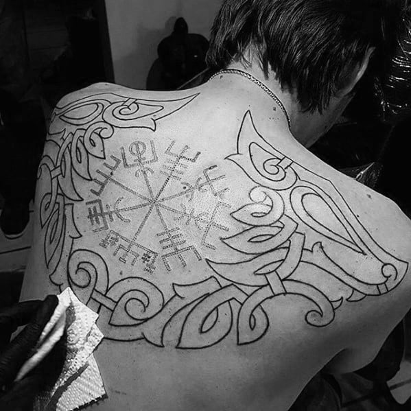 Male With Viking Compass Cletic Tribal Back Tattoo