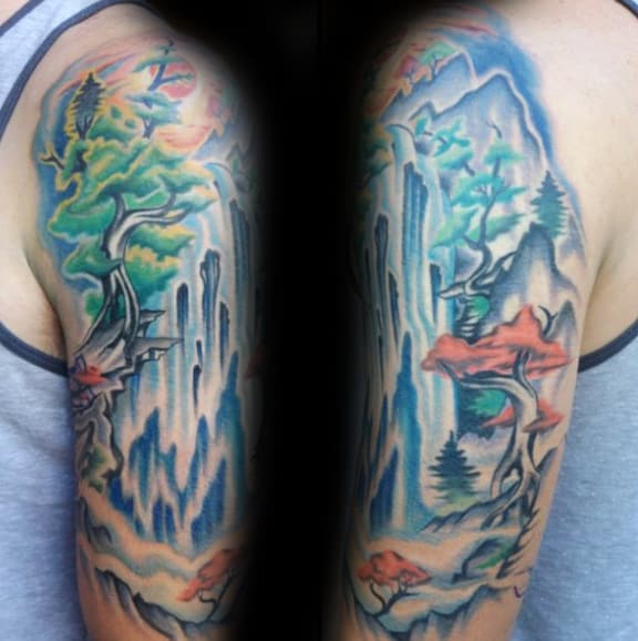 Male With Watercolor Waterfall Tattoo Half Sleeve