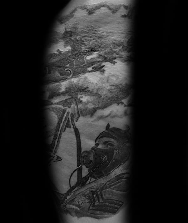 Male With Ww2 Shaded Fighter Pilot Half Sleeve Tattoo Design