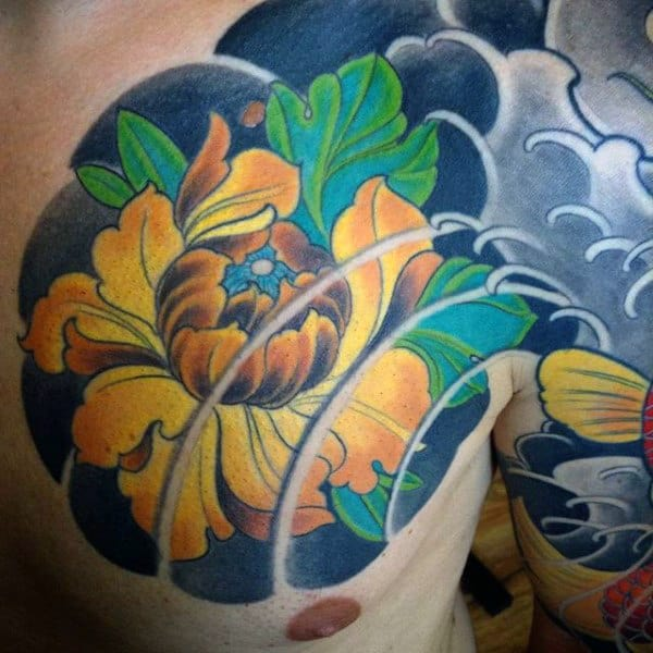 Male With Yellow Peony Japanese Ocean Wave Chest Tattoo