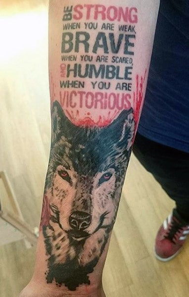 Male Wolf Face Tattoo