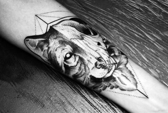 Male Wolf Skull Geometric Forearm Tattoo Ideas
