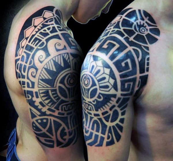 Male Wonderful Black Quarter Sleeve Tattoo