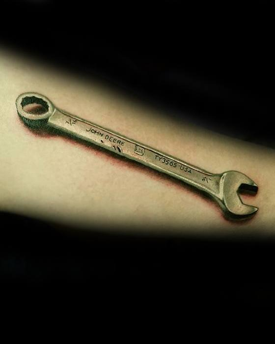 Male Wrench Tattoo Design Inspiration