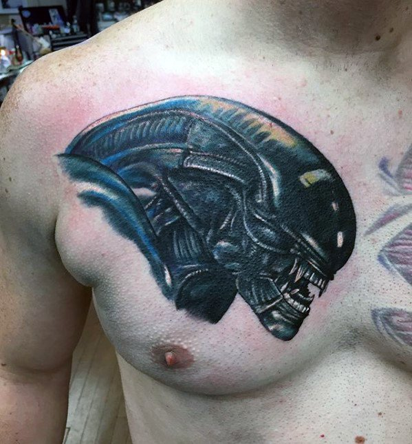 Male Xenomorph Tattoo Ideas On Upper Chest