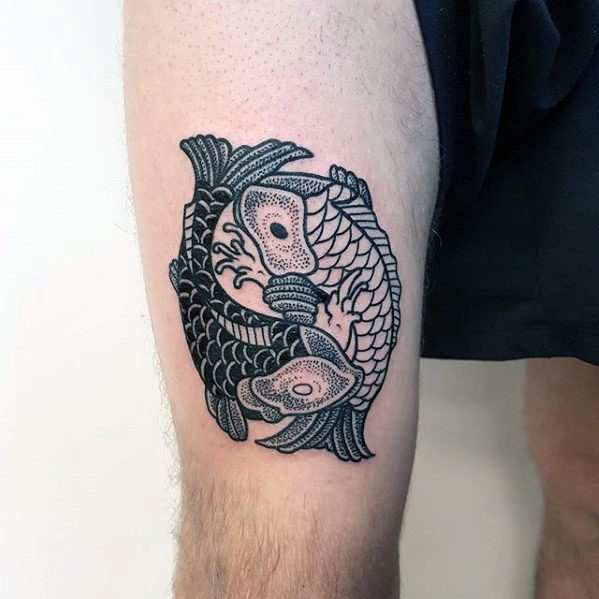 Male Yin Yang Koi Fish Tattoo Design Inspiration On Thigh