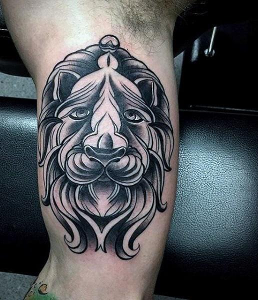 Males Aztec Lion Tattoo