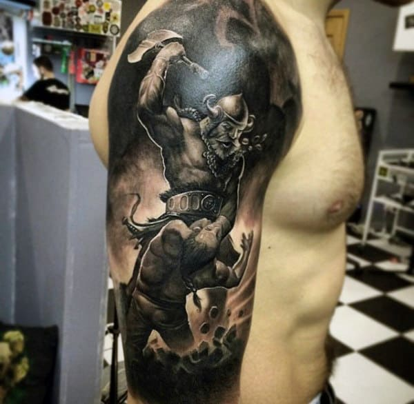 Males Black Shaded Death By Warrior Tattoo On Biceps
