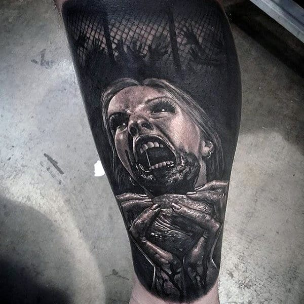 Males Calves Girl Eating Bloody Organ Realism Tattoo