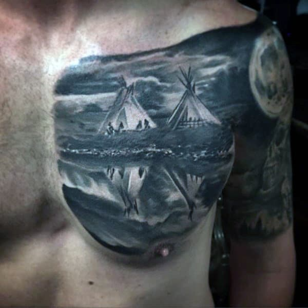 Males Chest Grey Colored Camp Night Realism Tattoo