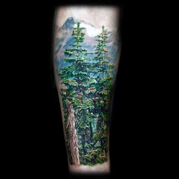 Males Forearm Tattoo Of Pine Forest In Full Color