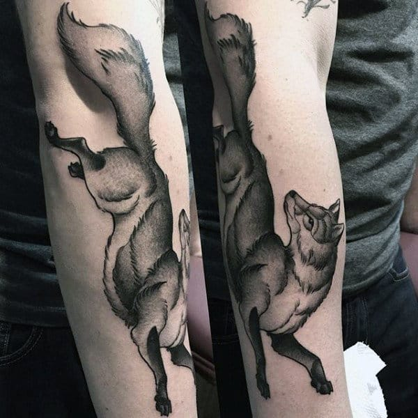 Males Forearms Black Landing Fox Tattoo