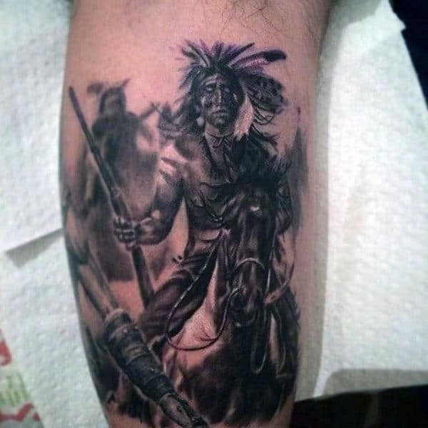 Males Forearms Ready To Battle Native American Man Tattoo