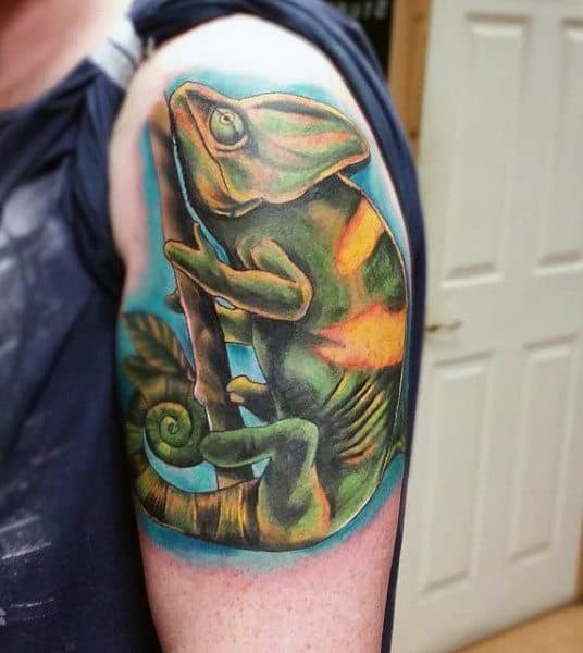 Males Half Slevve Iguana Lizard Tattoos