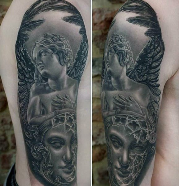 Males Sleeves Awesome Guardian Angel Tattoo