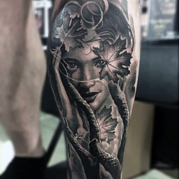 Males Stunning Leg Tattoo Beautiful Woman Surrounded By Nature Black Ink