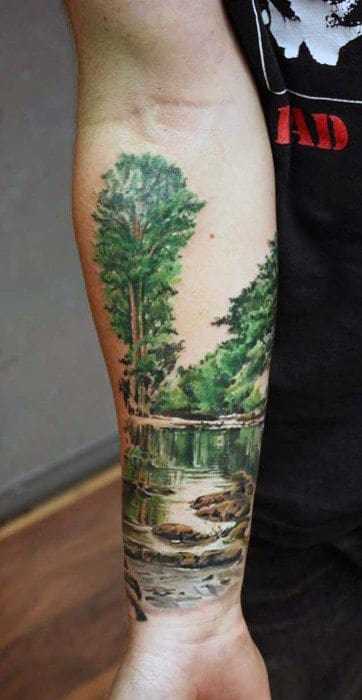 Males Tattoo Of Watercolor Style Lazy River Half Sleeve