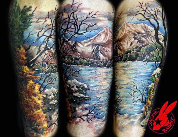 Males Watercolor Landscape Lake Tattoo Upper Sleeve