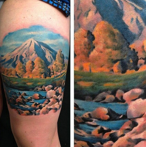 Males Watercolor Upper Arm Tattoo Of Mountainscape With Rushing River