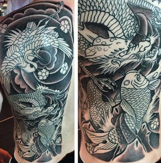 Maly Japanese Crane With Dragon And Koi Fish Full Back Mens Tattoo Designs