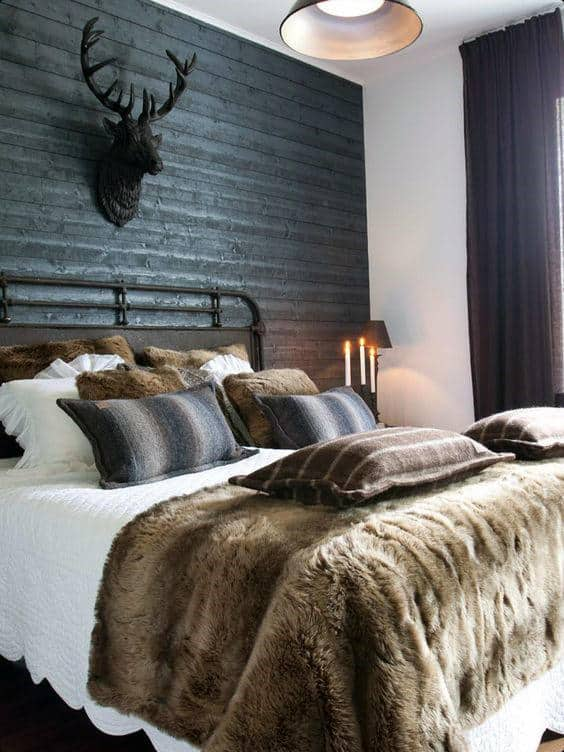 Man Bedroom Decor With Dark Wood Wall