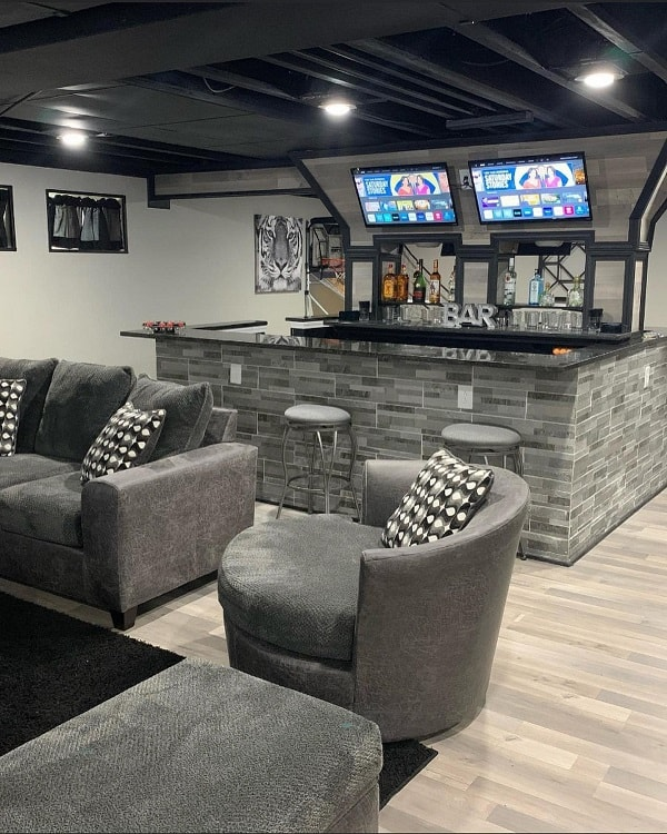 Man Cave Bar Unfinished Basement Ideas