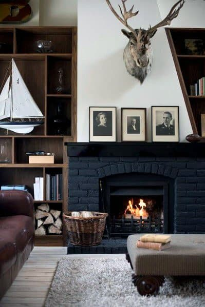 Man Cave Black Painted Fireplace Design