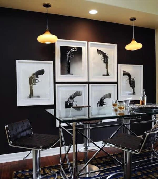 Man Cave Decor Gun Posters On Wall