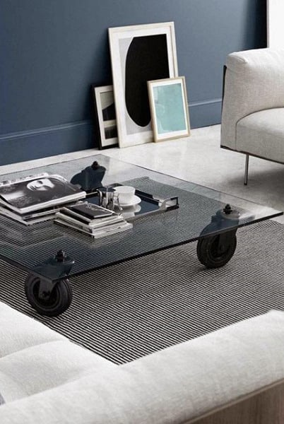 Man Cave Decor Ideas Glass Coffee Table With Roller Wheels