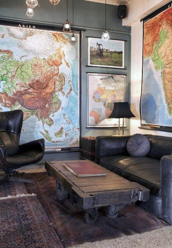 Man Cave Decor World Map Wall Art