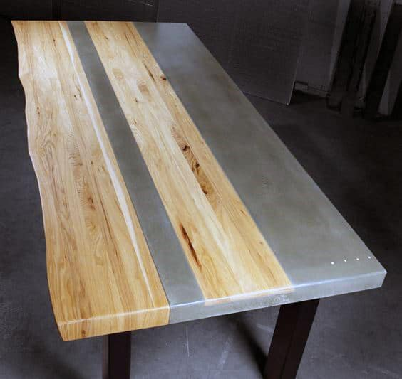 Man Cave Decorating Concrete And Wood Table