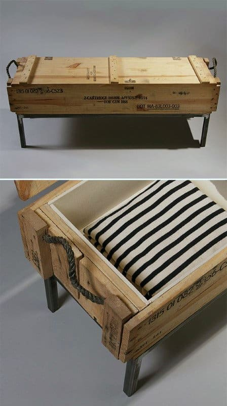 Man Cave Decoration Military Ammo Case Crate Bench
