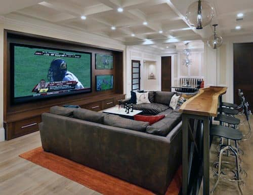 Man Cave Finished Basement Ideas For Men 70 Home Design  Masculine Retreats