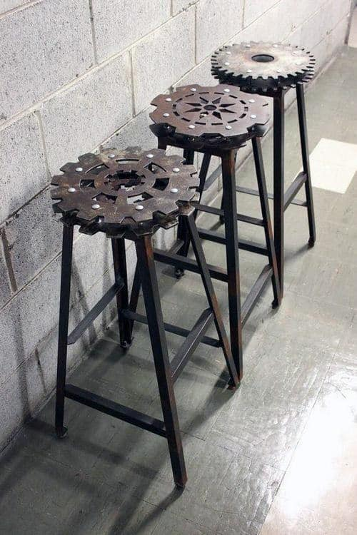 Man Cave Furniture Decorating Ideas Metal Gear Bar Stools