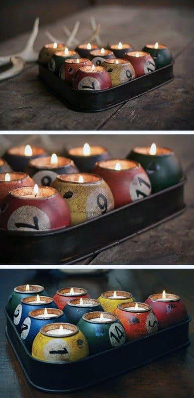 Man Cave Garage Decor Diy Pool Ball Candles