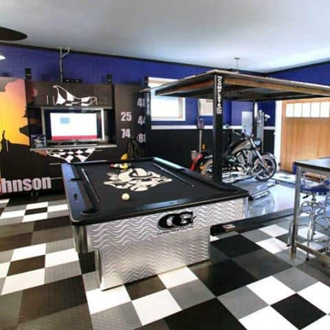 90 garage flooring ideas for men paint tiles and epoxy On man cave garage floor ideas