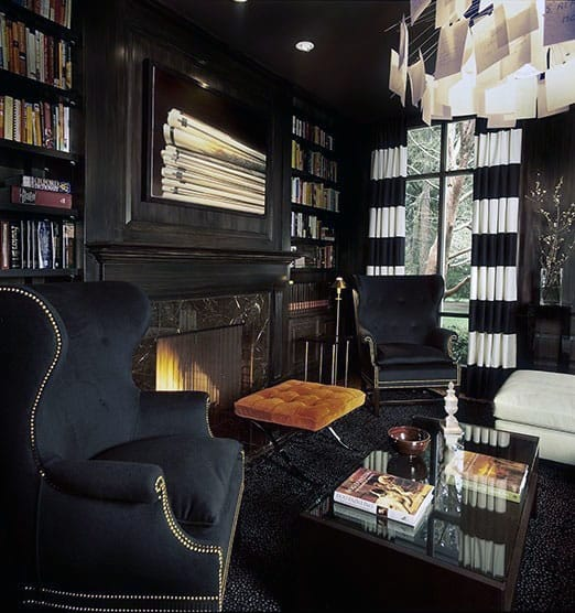 Man Cave Masculine Home Library Black Decor
