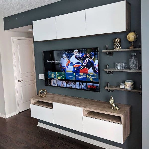 Man Cave Nice Television Wall Interior Ideas