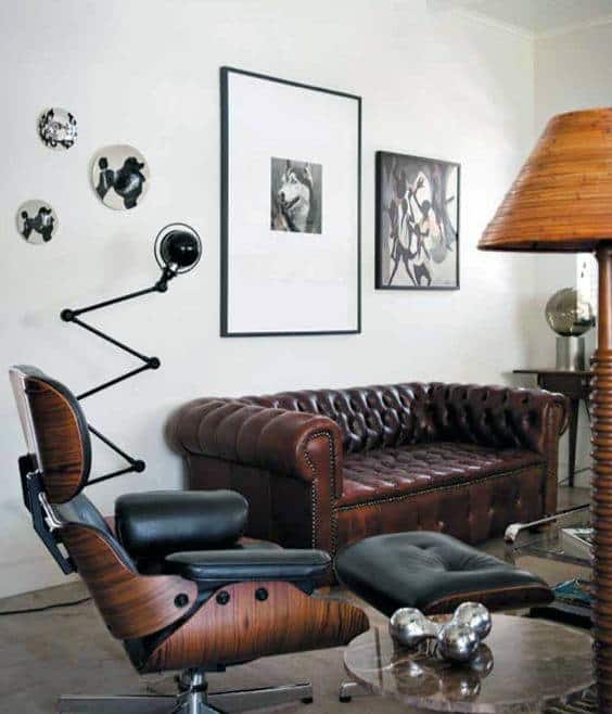 Man Cave Sofa Dark Brown Leather With Cool Eames Lounge Chair
