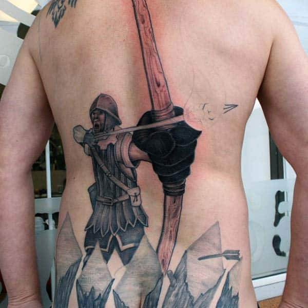 Man Drawing Arrow In Bow Archery Back Tattoos For Men