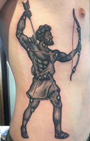 Man Drawing Arrow With Bow Archery Mens Rib Cage Side Tattoo Design Inspiration