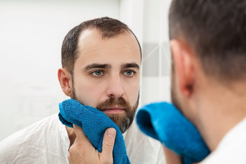 man-drying-beard