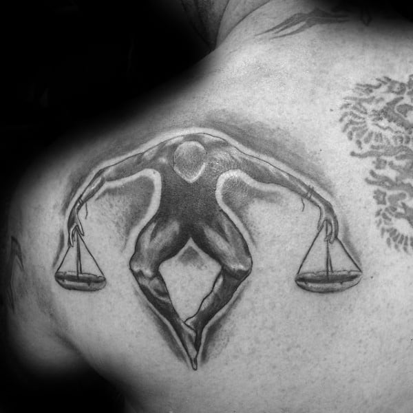 Man Holding Balanced Scale Shoulder Libra Tattoo For Guys