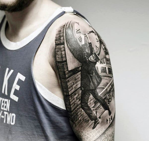 Man Holding Onto Clock Tower Guys Sweet 3d Half Sleeve Tattoo