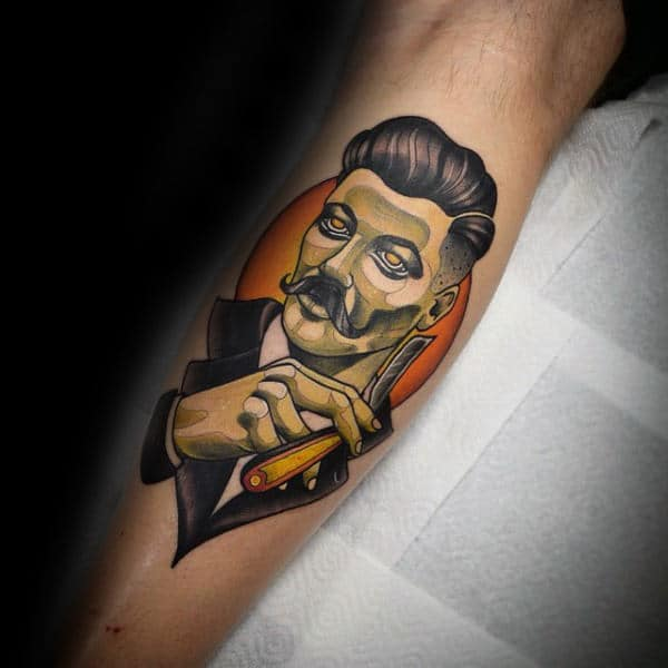 Man Holding Straight Razor Tattoo Forearms