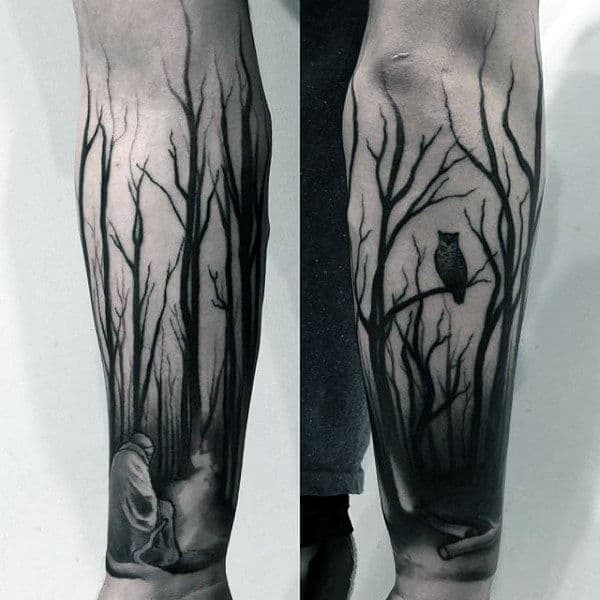 Man In Forest Creative Mens Forearm Tattoos