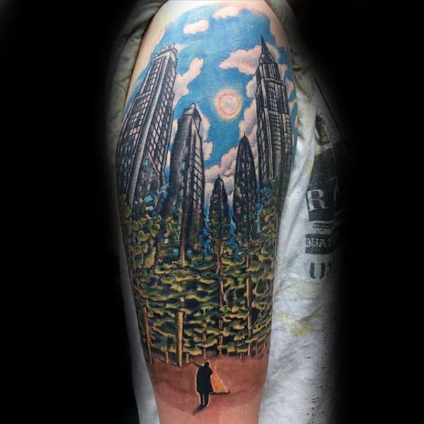 Man In Forest With City Skyline Background Cool Guys Arm Tattoos
