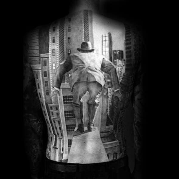 Man Jumping Off Building Mens Full Back Tattoos