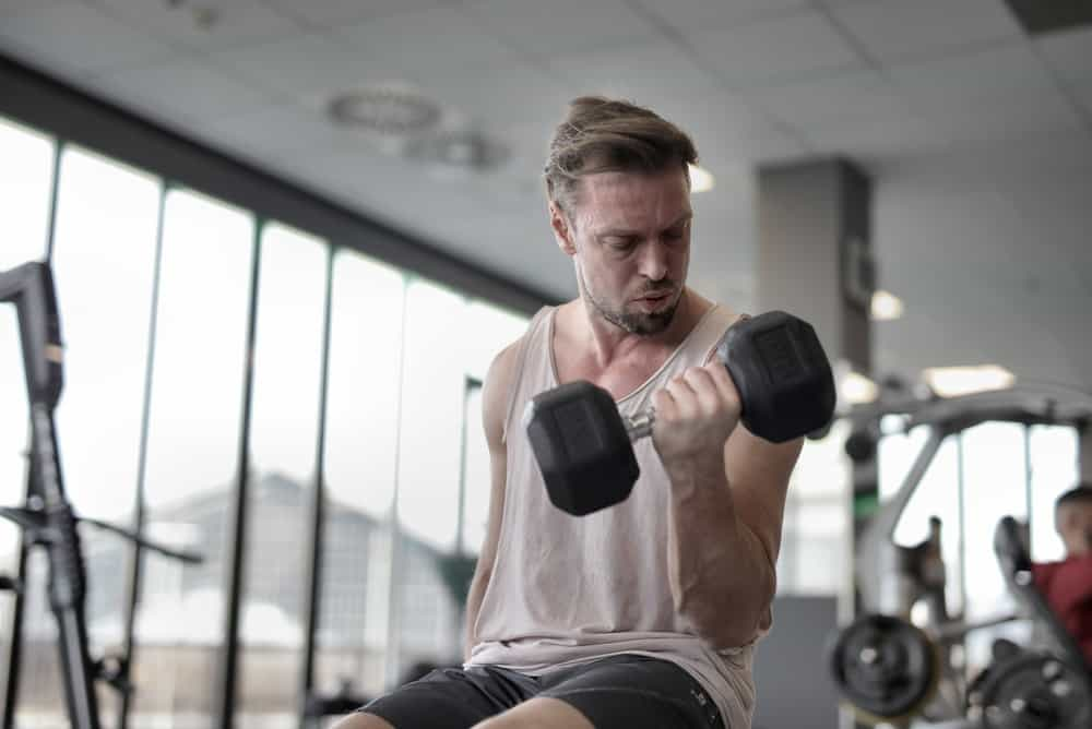 man sitting on a workout bench lifts a dumbbell