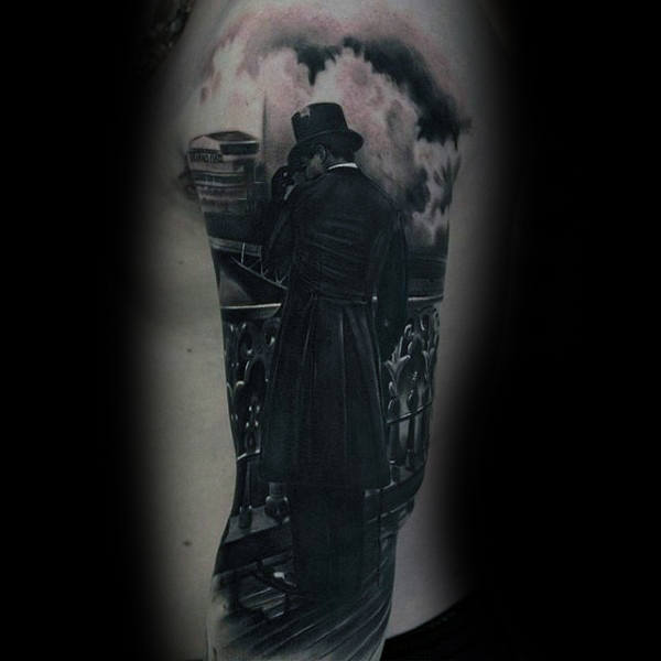 Man On Balcony Realistic Black Ink Mens Rib Cage Tattoo